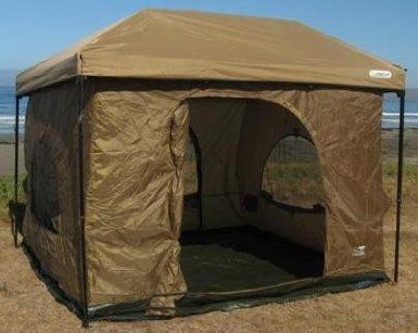 "Amazon.com: Standing Room 100 Hanging tent: Sports & Outdoors $140 The Fast Up ""Standing Room"" tent is an excellent shelter with vertical walls that most people can stand straight up in. If you are tall and want a tent with headroom, this tent has over 8 feet of height at the center, and the vertical walls allow use of the full floor space Hooks to nearly any 10'x10' (straight leg) canopy. The tent by itself comes with a solid waterproof top. 2 door 4 storage pouches"