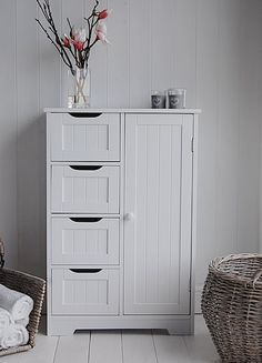 Freestanding Bathroom Cabinet - White bathroom Storage.