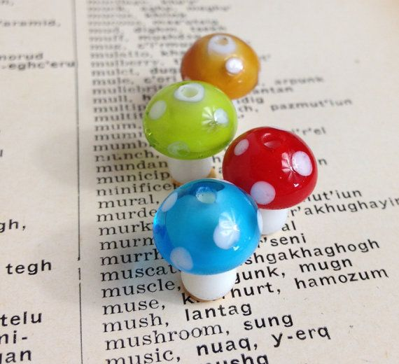 4pcs tiny glass mushrooms lampwork beads by 385