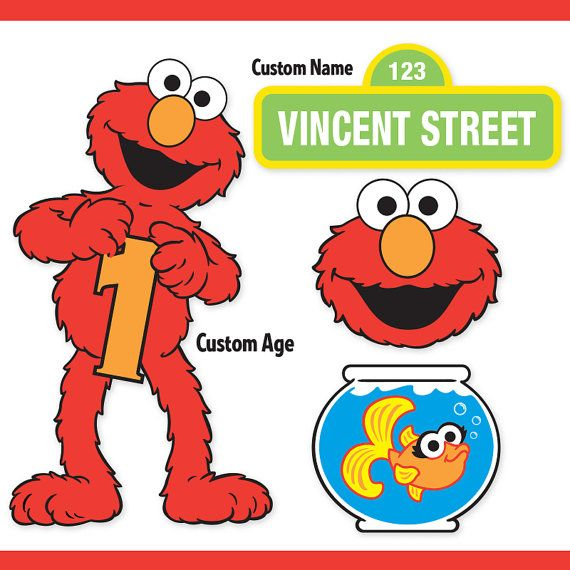 Custom Printable Sesame Street Elmo Centerpiece Displays / Elmo Birthday / Cake Topper