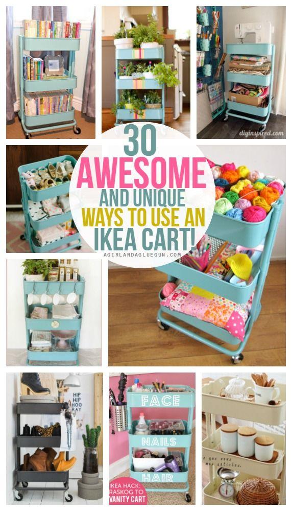 '30 fun and unique ways to use an Ikea Raskog cart...!' (via A girl and a glue gun)