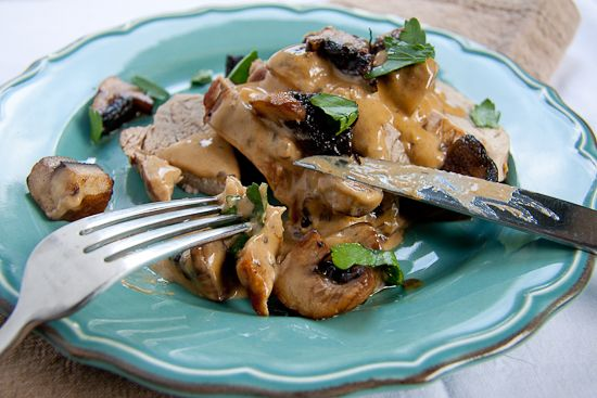 Pork tenderloin (fillet) with creamy mushrooms. Will substitute the cream for Philadelphia light and a little water to make slimming world friendly