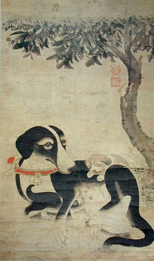 Korean folk painting: Dog / 모견도(母犬圖): Painting of Mother Dog
