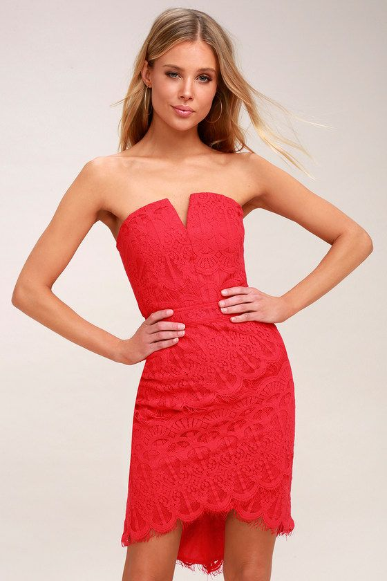 2df38773b48b Set hearts aflame in the Adelyn Rae Corazon Red Lace Strapless Bodycon Dress!  Strapless lace dress with notched neckline and a bodycon fit.
