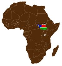 Map of Africa with South Sudan flag