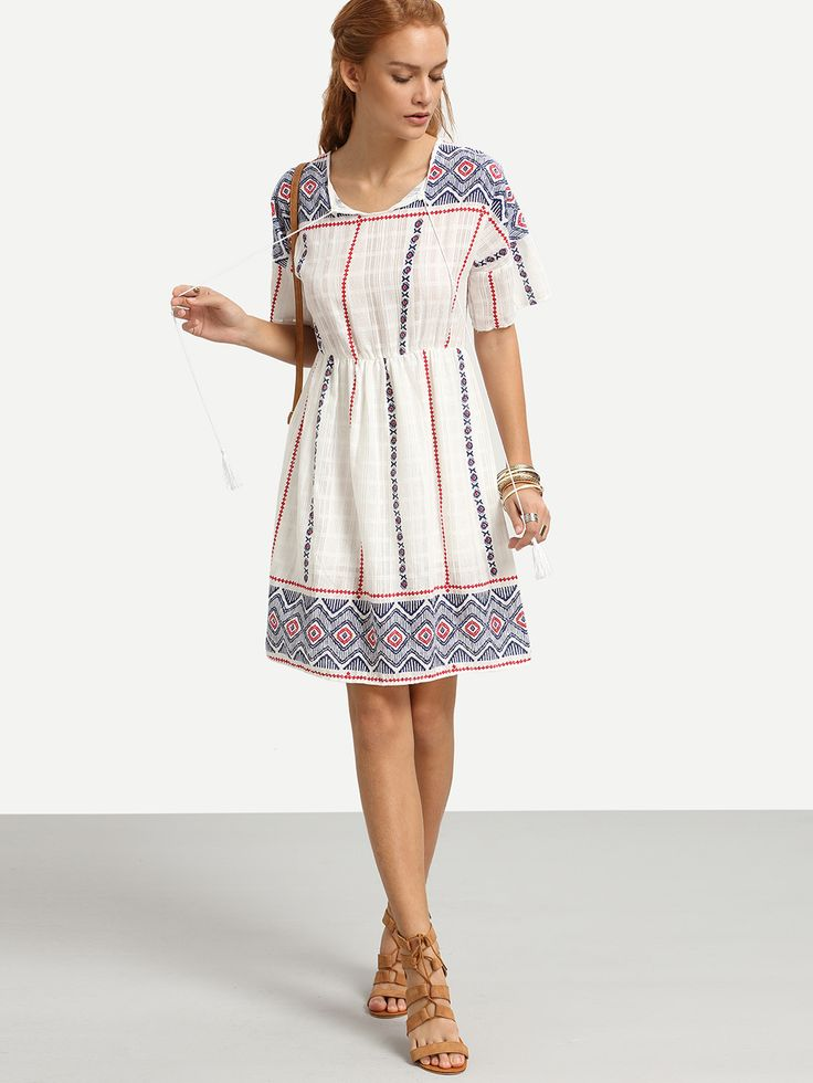 Vestido geométrico cordón-Sheinside