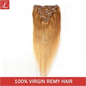100% Remy Human Hair Color#10 20clips 8pcs/set Clips On Hair Extensions