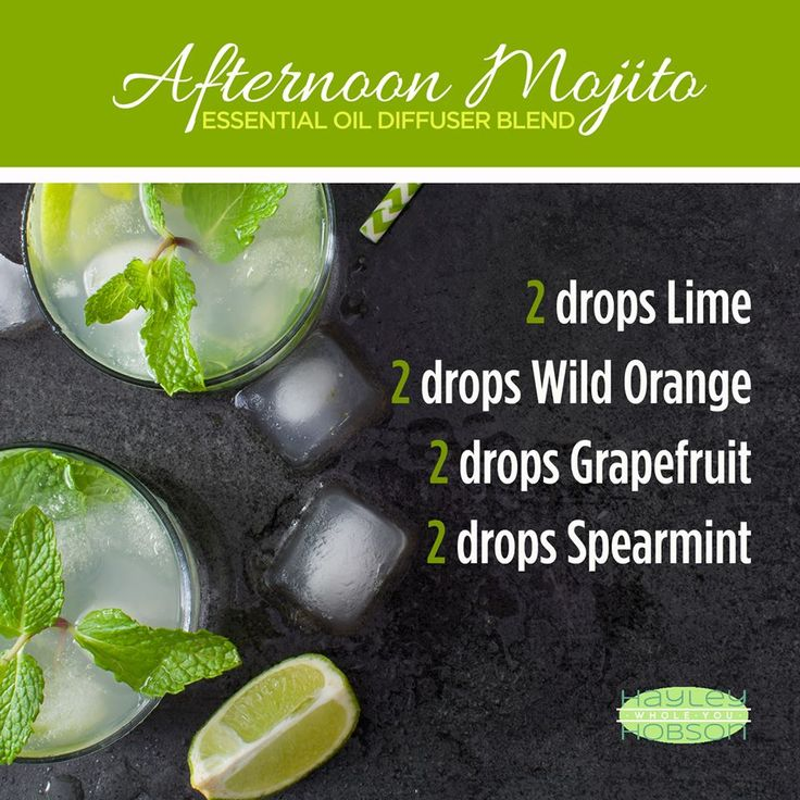 Here's a fun diffuser blend to try! Immerse your home or office with the delightful scent of an afternoon mojito and you may just feel like you've escaped to a relaxing beachfront resort! And the benefits of the delicious blend of lime, wild orange, grapefruit, and spearmint essential oils will purify the air and protect against seasonal threats while simultaneously uplifting the mind and body, and promoting emotional balance and well-being. www.hayleyhobson.com