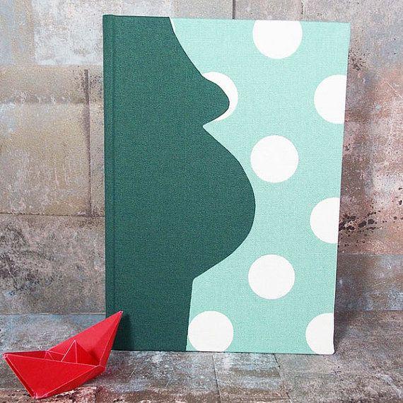 Green Pregnancy Diary, momtobe, new baby, pregnancy gift, personalized diary, pregnancy diary fabric, polka dots, green