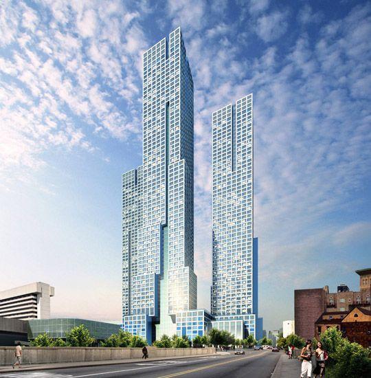 Construção do mais alto edifício residencial de Nova Jérsia e um dos mais altos arranha-céus residenciais dos EUA. Com 222 metros de altura e 70 pisos, a torre Journal Squared, projetada pelos gabinetes norte-americanos HWKN e Handel, terá 1840 apartamentos e fará parte de um conjunto residencial formado por mais dois edifícios de menor altura. O complexo terá um total de 214 mil metros quadrados de área e será construído em três fases, ficará concluído em meados de 2016.