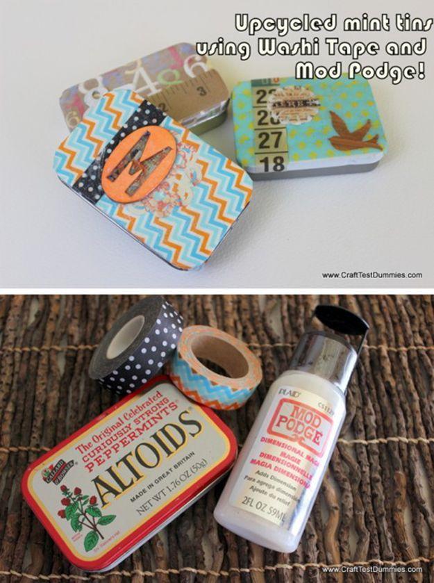 Easy DIY Washi Tape Storage Ideas | Upcycled Mint Tins by DIY Ready at http://diyready.com/100-creative-ways-to-use-washi-tape/