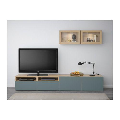 БЕСТО Шкаф для ТВ, комбин/стеклян дверцы - под беленый дуб/Вальвикен серо-бирюзовый, прозрачное стекло, направляющие ящика, плавно закр - IKEA