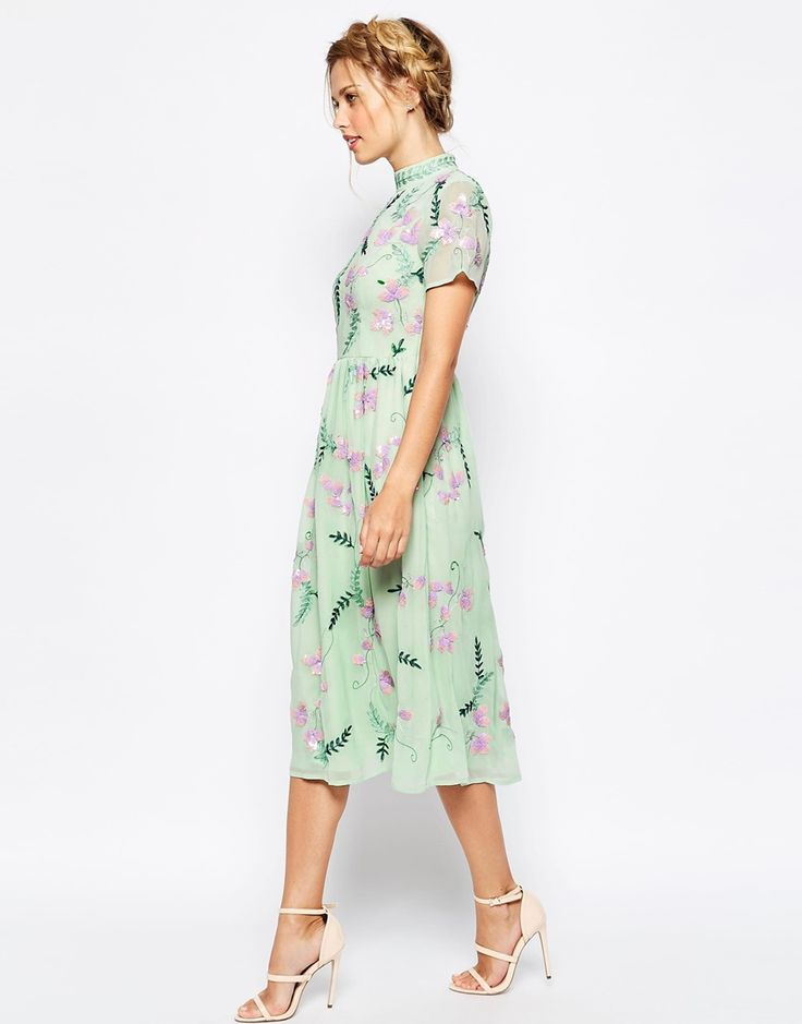 Best Wedding guest outfit inspiration Frock and Frill All Over Embellished Floral Full Prom Midi