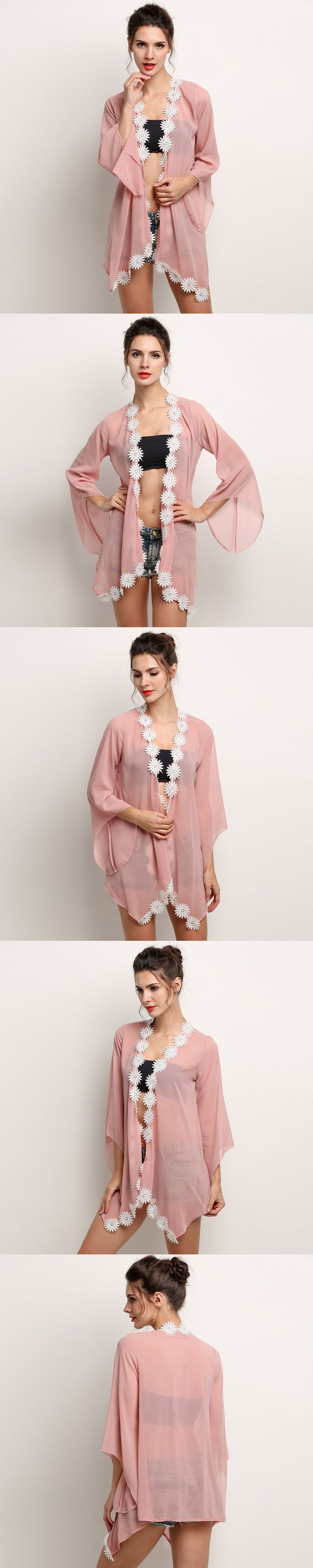 2016 Summer Shirt Style New Floral Chiffon Blouse Tops Women Lace Stitching Shirts Casual Blusas Sweet Kimono Cardigan Plus Size