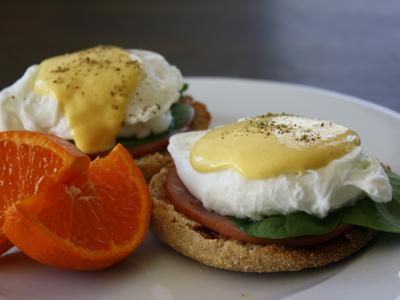 Eggs Benedict, Lightened Up  * made this. Yummy but 1/2 Leon juice next time