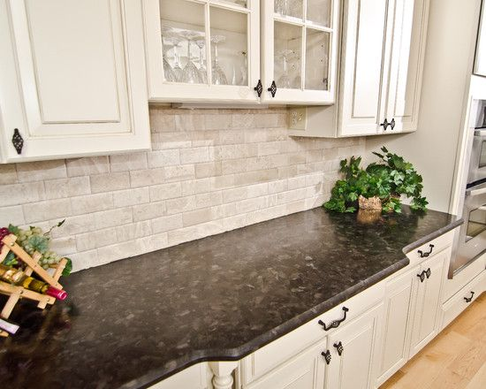 Kitchen design appealing traditional kitchen cabinets and table with antique brown granite - White brick backsplash ...