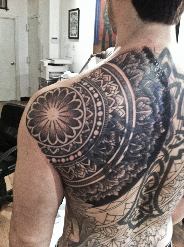Mandala tattoo, appears to be a cover-up (great idea using the mandala)