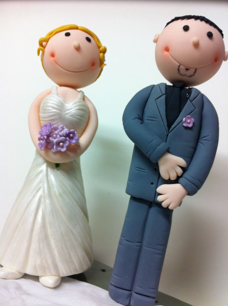 Wedding Cake Toppers, fondant figurines, bride and groom