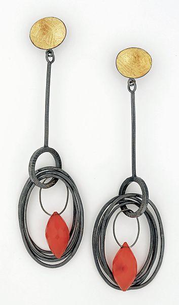 Long Carnelian Nest Earrings by Sydney Lynch: Gold, Silver, & Stone Earrings available at www.artfulhome.com