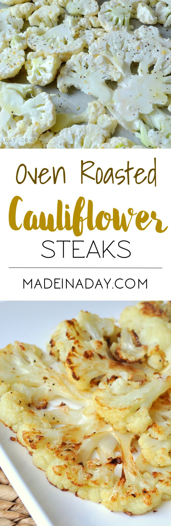 Oven Roasted Cauliflower Steaks, learn to cut cauliflower into steaks and season them for a low-carb meal! Parmesan cheese, garlic olive oil blend.