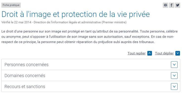 Droit à l'image et protection de la vie privée : https://www.service-public.fr/particuliers/vosdroits/F32103