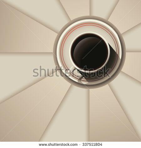 Vector cream mug of coffee on plate. Illustration on rays background - stock vector