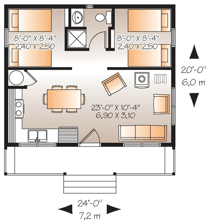First Floor Plan of Cabin   House Plan 76166