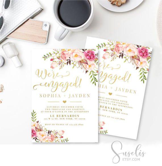Engagement invitation printable Were engaged Boho Engagement
