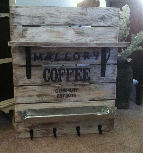 Personalized Coffee Sign is a great piece to add to your Rustic Coffee Bar, this coffee bar sign has a coffee pod holder along with coffee cup hooks. What a great way to show off your coffee station. This rack can come with a pod holder or you can get seven coffee cup hooks.