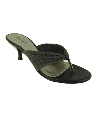 Take a look at this Black Eunice Kitten Heel Sandal by Qupid on #zulily today!