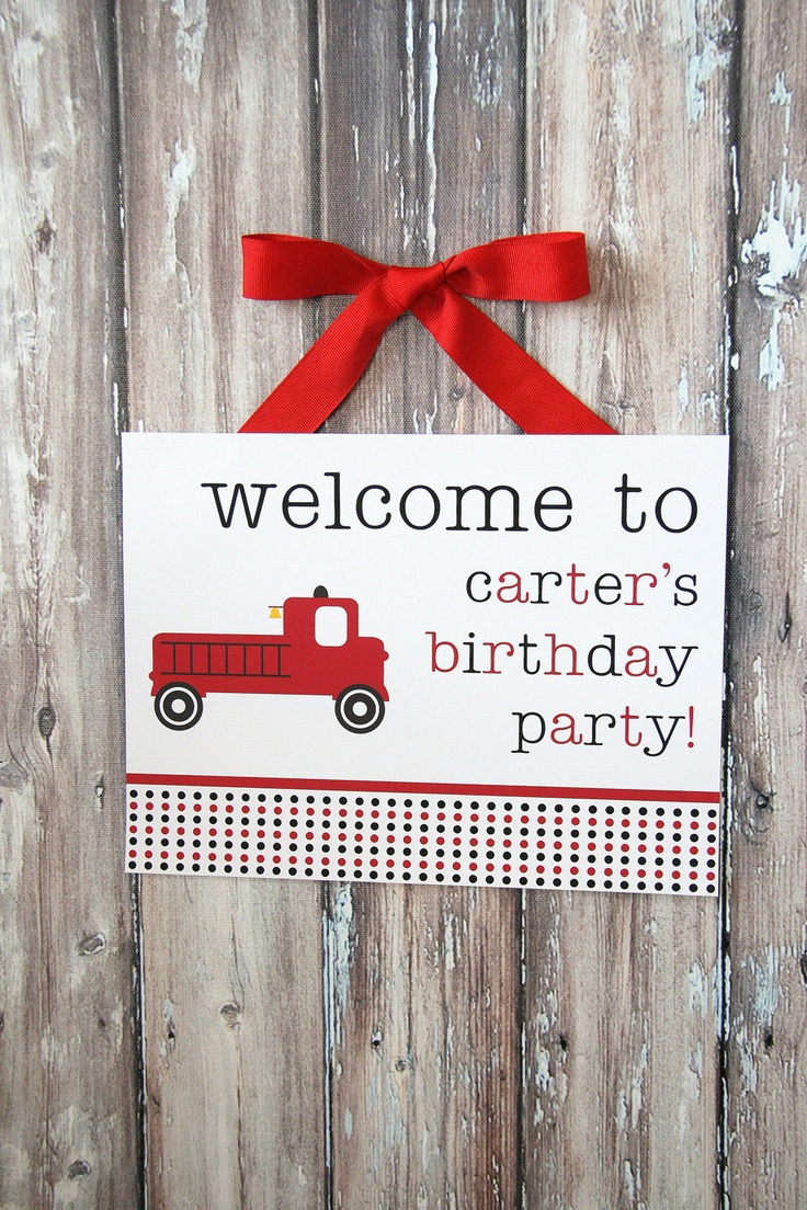 Firetruck Party  Printable Welcome Sign  The by tomkatstudio, $8.50