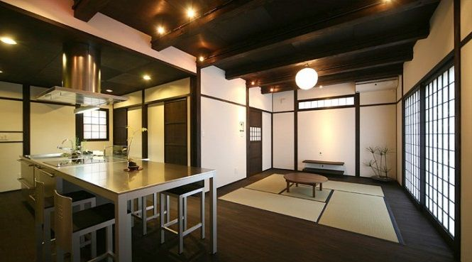 Kitchen:Charming Japanese Kitchen Design: Combined Warm Tones And Wood Flooring Japanese Kitchen Design With Small Rounded Table Tatami Shoji And Fusuma Rounded Pendant Lamp Gray Dining Table And Chairs Integrated With Kitchen Island Silver Range Hood Dark Wood Flooring