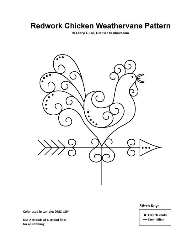 Redwork Chicken Weathervane Pattern: Redwork Chicken Weathervane Embroidery Pattern