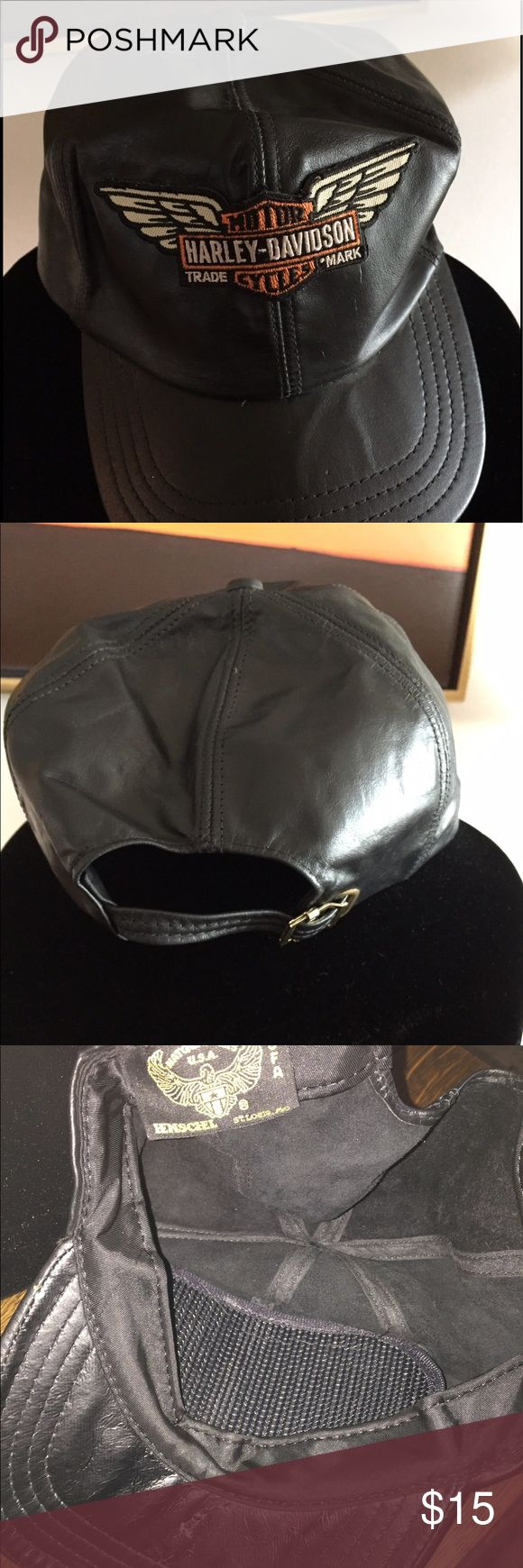 Leather hat with Harley Davison patch Leather hat with Harley Davidson patch bill has some damage to the inside. See photo Accessories Hats