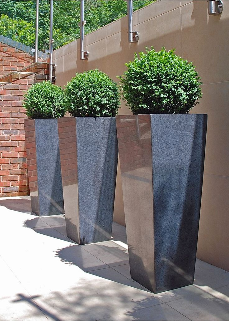 Trio of natural slate tapered planters