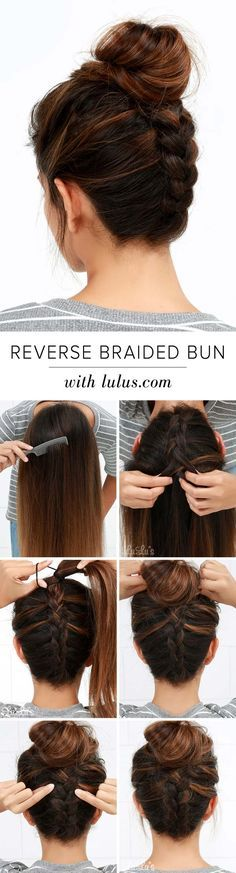 Cool and Easy DIY Hairstyles - Reversed Braided Bun - Quick and Easy Ideas for Back to School Styles for Medium, Short and Long Hair - Fun Tips and Best Step by Step Tutorials for Teens, Prom, Weddings, Special Occasions and Work. Up dos, Braids, Top Knot