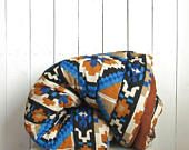 Southwest Comforter Blanket 90s Quilted Double Queen Size Blanket Blue Burnt Orange White Black Navajo Print 102 x 85 Inches