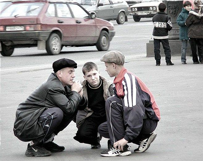 love #GOPNIKS / Russian squat (slav squat, korty) refers to the squatting position often done by thugs while loitering/waiting outside. The position can be described as squatting with slightly relaxed arms hanging…