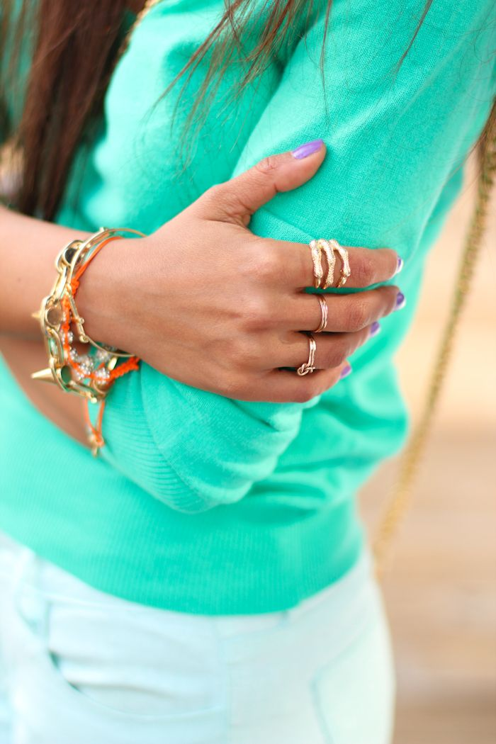 Minty fresh: Wool Sweaters, Mint Green, Pretty Colors, Cute Outfits, Purple Nails, Gold Rings, Accessories, Summer Colors, Gold Jewelry