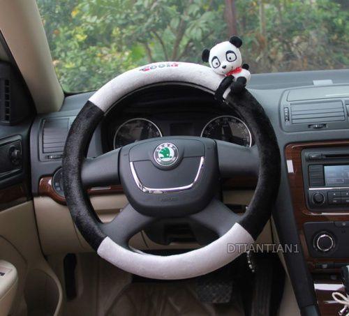 1pc Panda Cartoon Plush Black Gray Steering Wheel Cover SWC004 | eBay