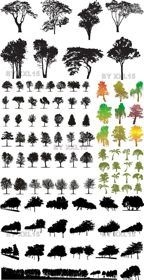 Tree Silhouettes Vector | Free Vector Graphics & Art Design Blog