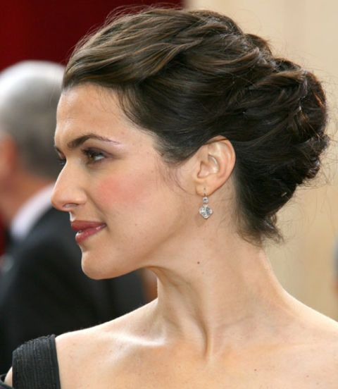 If you want to create a dramatic profile, try out Rachel Weisz's braided updo. Add a pair of pretty earrings to finish the look.