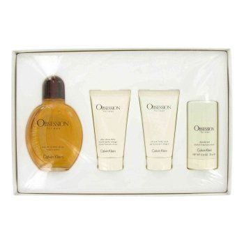 OBSESSION by Calvin Klein Mens Gift Set -- 4 oz Eau De Toilette Spray + 2.5 oz After Shave Balm + 2.5 oz Body Wash + 2.6 oz Deo Stick by Calvin Klein. Save 22 Off!. $53.30. 100% Authentic Brand Name Merchandise!. Gift Set -- 4 oz Eau De Toilette Spray + 2.5 oz After Shave Balm + 2.5 oz Body Wash + 2.6 oz Deo Stick. Launched by the design house of Calvin Klein in 1986, OBSESSION is classified as a refreshing, oriental, woody fragrance.This masculine scent possesses a blend of lavender, man...