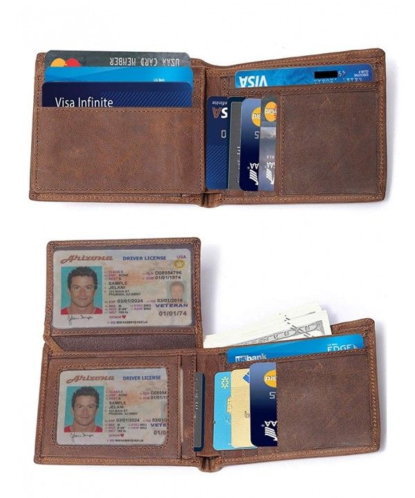 Mens Vintage Genuine Leather Rfid Blocking Bifold Trifold Wallet With Id Window Brown 2 Id Window Cj18ek8k0u2 Trifold Wallet Vintage Men Wallet