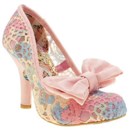 One of our favourite Irregular Choice heels, the Mal E Bow Crochet arrives in a fabulous pastel multi-coloured colourway. With pink bow and heel detailing, the 10cm heel provides plenty of supportive height for a super feminine finish.