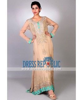 Almond Crinkle Chiffon Long Shirt Dress Evening Pakistani Clothes Online 2014