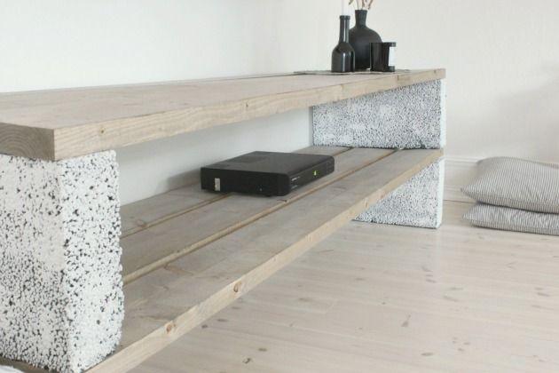 Indoor Cinder Block Shelf