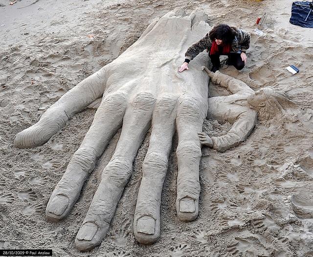 sand hand! ... Sand Sculpture Southwark