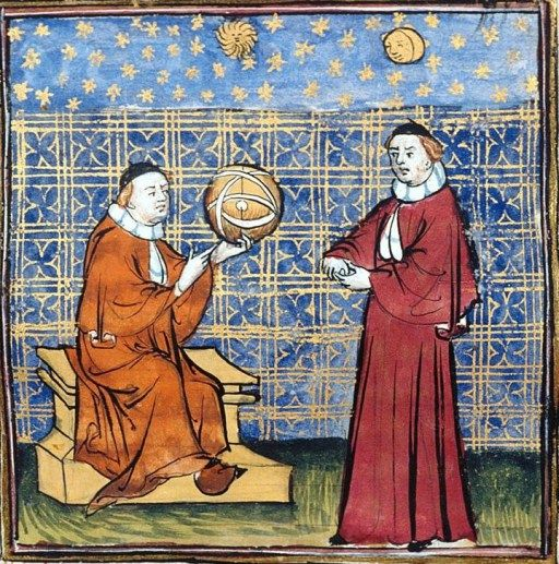 """L'osservazione delle stelle - miniatura dal """"De proprietatibus rerum"""" di Bartolomeo Anglico - XV sec."""