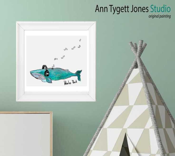 Whales Rock Giclee print, original painting blue whale with head phones, quote whales rock wall art for boys by anntygettjonesstudio on Etsy